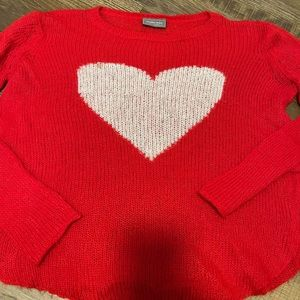 Wooden Ships Red Heart Sweater Sz S/M